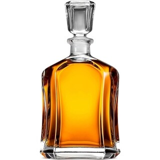 Capitol Glass Decanter with Airtight Geometric Stopper Whiskey Decanter for Wine, Brandy, Liquor, Juice, Water, & Mouthwash
