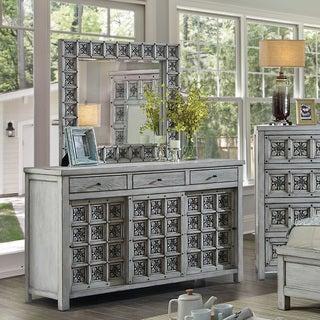 Furniture of America Vandalla 2-piece Light Grey Dresser and Mirror Set