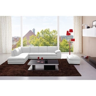 625 Italian Leather Sectional White in Left Hand Facing Chaise