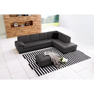 625 Italian Leather Sectional Grey in Right Hand Facing Chaise