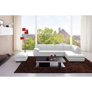625 Italian Leather Sectional White in Right Hand Facing Chaise