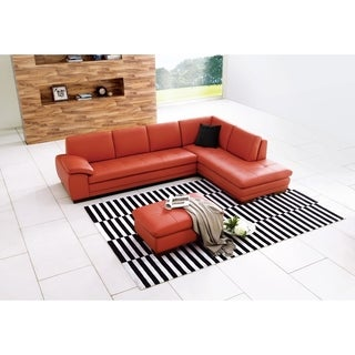 625 Italian Leather Sectional Pumpkin in Right Hand Facing Chaise