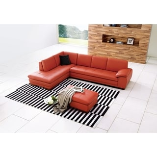 625 Italian Leather Sectional Pumpkin in Left Hand Facing Chaise