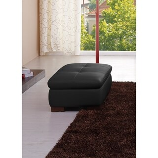 625 Italian Leather Ottoman in Black