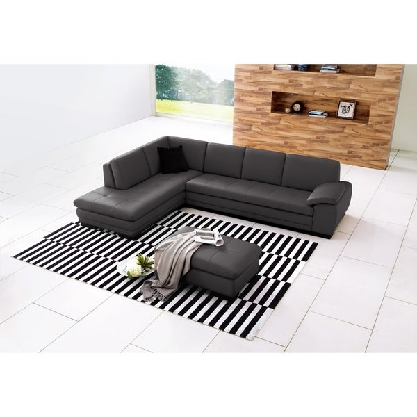 625 Italian Leather Sectional Grey In Left Hand Facing Chaise Free Shipping Today 20758463