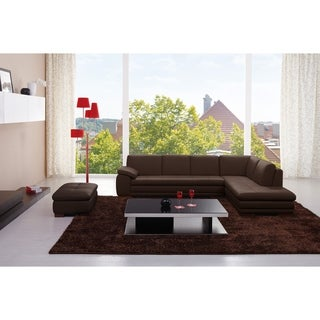625 Italian Leather Sectional Brown in Right Hand Facing Chaise