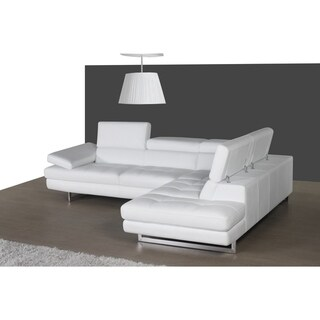 A761 Italian Leather Sectional White In Right Hand Facing Chaise