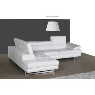 A761 Italian Leather Sectional White In Left Hand Facing Chaise