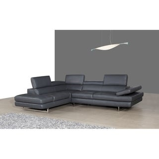 A761 Italian Leather Sectional Slate Grey In Left Hand Facing Chaise