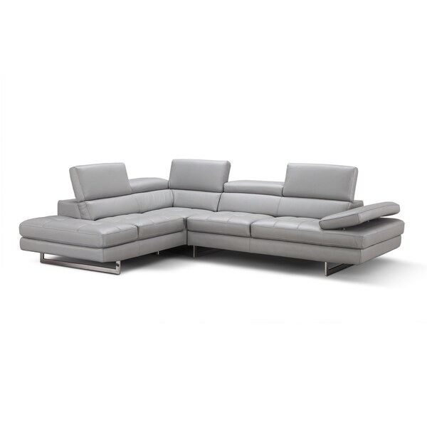 Shop Aurora Italian Leather Sectional Light Grey In Left