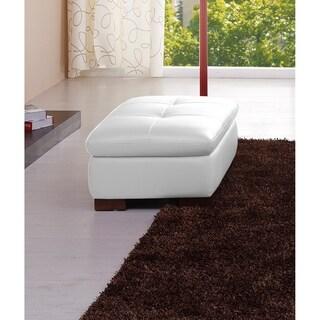 625 Italian Leather Ottoman in White