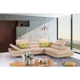 A761 Italian Leather Sectional Peanut In Right Hand Facing Chaise