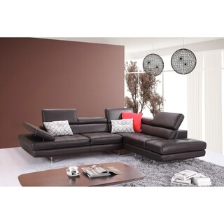 A761 Italian Leather Sectional Coffee In Right Hand Facing Chaise
