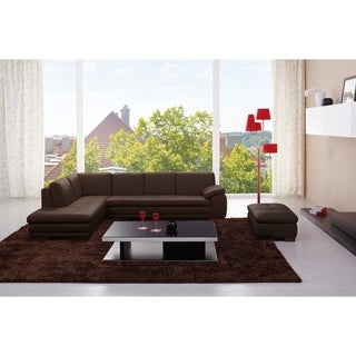 625 Italian Leather Sectional Brown in Left Hand Facing Chaise