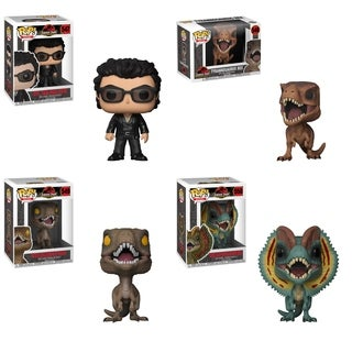 Funko POP! Movies Jurassic Park Collectors Set; Dr. Ian Malcolm, Tyrannosaurus, Velociraptor & Dilophosaurus