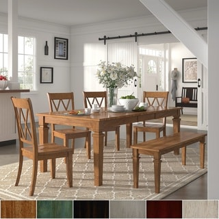 Elena Oak Extendable Rectangular Dining Set - Double X Back by iNSPIRE Q Classic