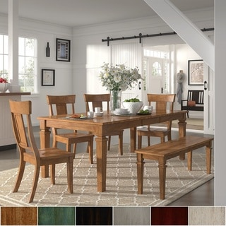 Elena Oak Extendable Rectangular Dining Set with Panel Back Chairs by iNSPIRE Q Classic