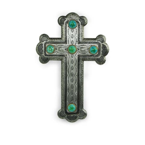 Silver Resin Cross with Turquoise Stones,16x11