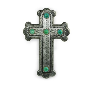Silver Resin Cross with Turquoise Stones,16x11 - N/A