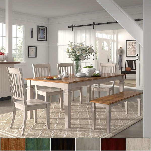 Elena Antique White Extendable Rectangular Dining Set with Slat Back Chairs by iNSPIRE Q Classic