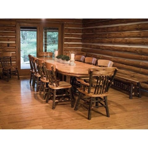 """Rustic Hickory Double Pedestal 72"""" Oval Dining Table w/ 10 Chairs"""