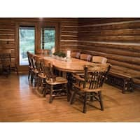 """Rustic Hickory Double Pedestal 72"""" Oval Dining Table with 10 Chairs"""