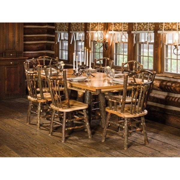 Shop Rustic Hickory Trestle Style Dining Table With Chairs - 72 trestle dining table