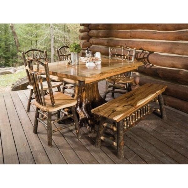 Charmant Live Edge Hickory Top White Cedar Stump Table W/ 4 Chairs U0026amp; ...