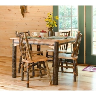 "Rustic Hickory Solid Top 42"" Table with 4 Stick Back Chairs"