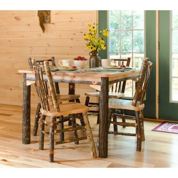 """Rustic Hickory Solid Top 42"""" Table with 4 Stick Back Chairs"""