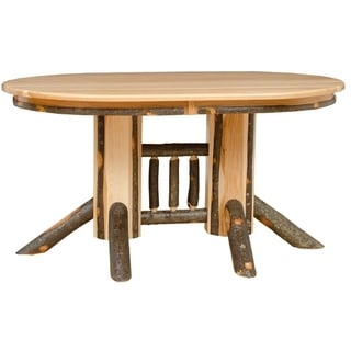 Rustic Hickory Double Pedestal Solid Top Oval Dining Table  Choose 60 Or 72  Inches
