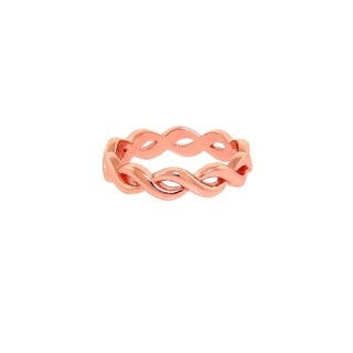 Eternally Haute 14k Rose Gold Plated Sterling Silver Braided Infinity Midi Ring