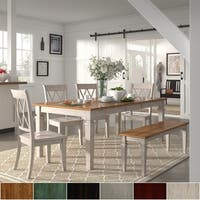 Elena Antique White Extendable Rectangular Dining Set with Double X-Back by iNSPIRE Q Classic