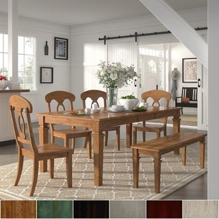 Elena Oak Extendable Rectangular Dining Set - Napoleon Back Chairs by iNSPIRE Q Classic