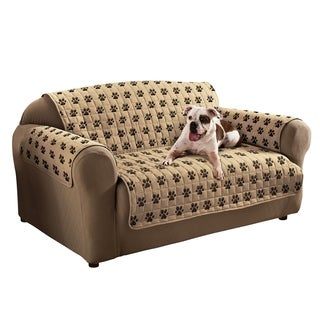 Paw Prints Natural Loveseat Furniture Protector Slipcover