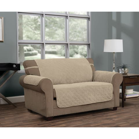 Ripple Plush Secure Fit Loveseat Furniture Cover Slipcover