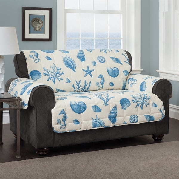 shop innovative textile solutions shells blue sofa furniture rh overstock com freedom furniture blue sofa value city furniture blue sofa
