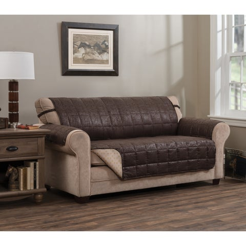Innovative Textile Solutions Brentwood Faux Leather Sofa Slipcover