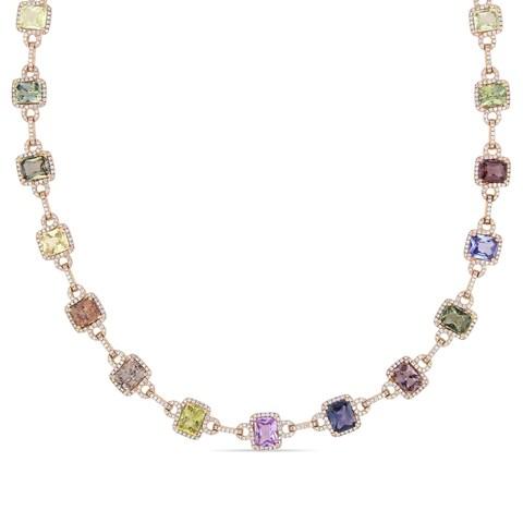 Miadora Signature Collection Rose Gold Multi-Color Sapphire and 4 1/4ct TDW Diamond Necklace