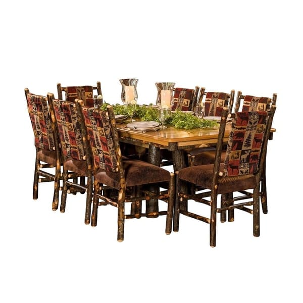Rustic Hickory Trestle Style 72 Dining Table With 8