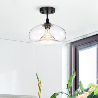 Masix Matte Black 1 Light Semi Flushmount Lamp With Donut Glass Shade