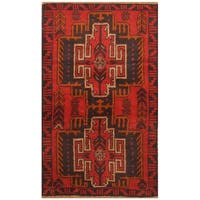 Handmade Herat Oriental Afghan Hand-knotted Tribal Balouchi Wool Rug  - 2'11 x 4'8 (Afghanistan)