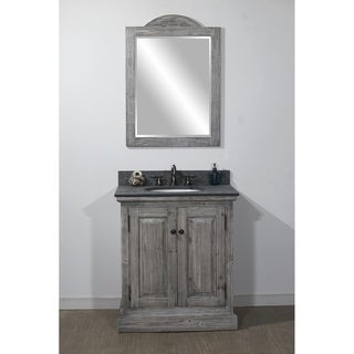 """31""""Rustic Solid Fir Single Sink Vanity in Grey-Driftwood Finish with Polished Textured Granite Top-No Faucet"""
