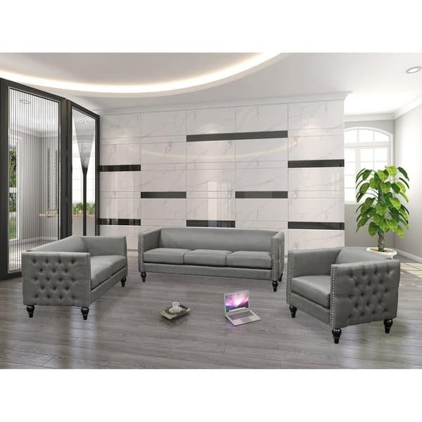 Shop Best Master Furniture 3 Pieces Tufted Living Room Set ...