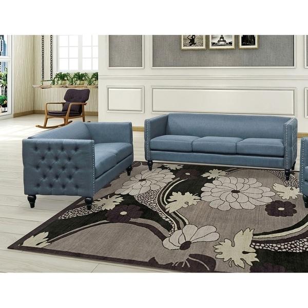 Best Master Furniture 2 Pieces Tufted Living Room Set