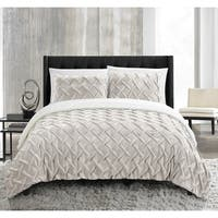 Chic Home Noam 3 Piece Ultra Plush Pinch Pleat Sherpa Lined Comforter Set