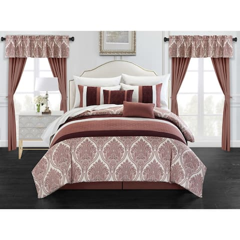 Chic Home Katniss 20 Piece Bed in a Bag Medallion Embroidered Comforter Set