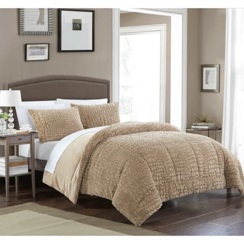 Chic Home Caimani 3 Piece Comforter Set Faux Fur, Taupe