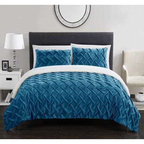 Chic Home Noam 3 Piece Ultra Plush Pinch Pleat Sherpa Lined Comforter Set