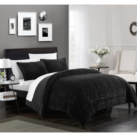 Chic Home Caimani 3 Piece Comforter Set Faux Fur, Black